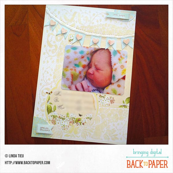 Our Baby Ephemera Scrapbook Page and Pocket