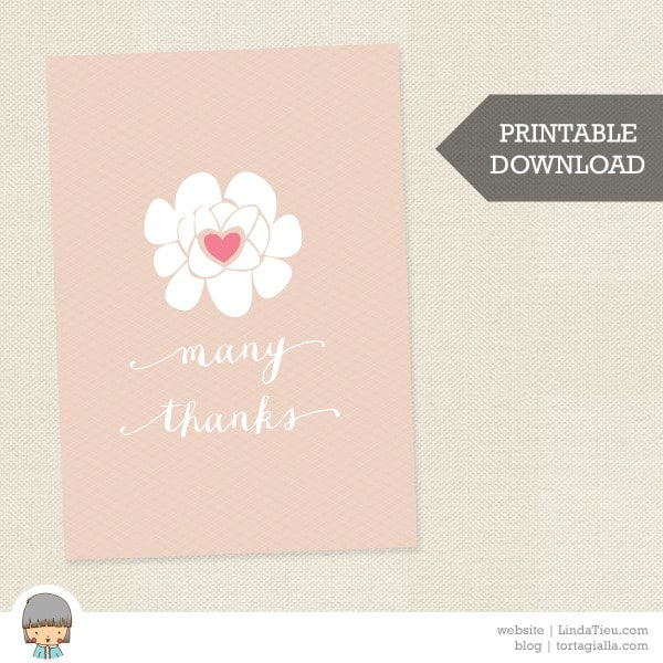 Free Printable Thank You Card – Soft Floral Many Thanks Card