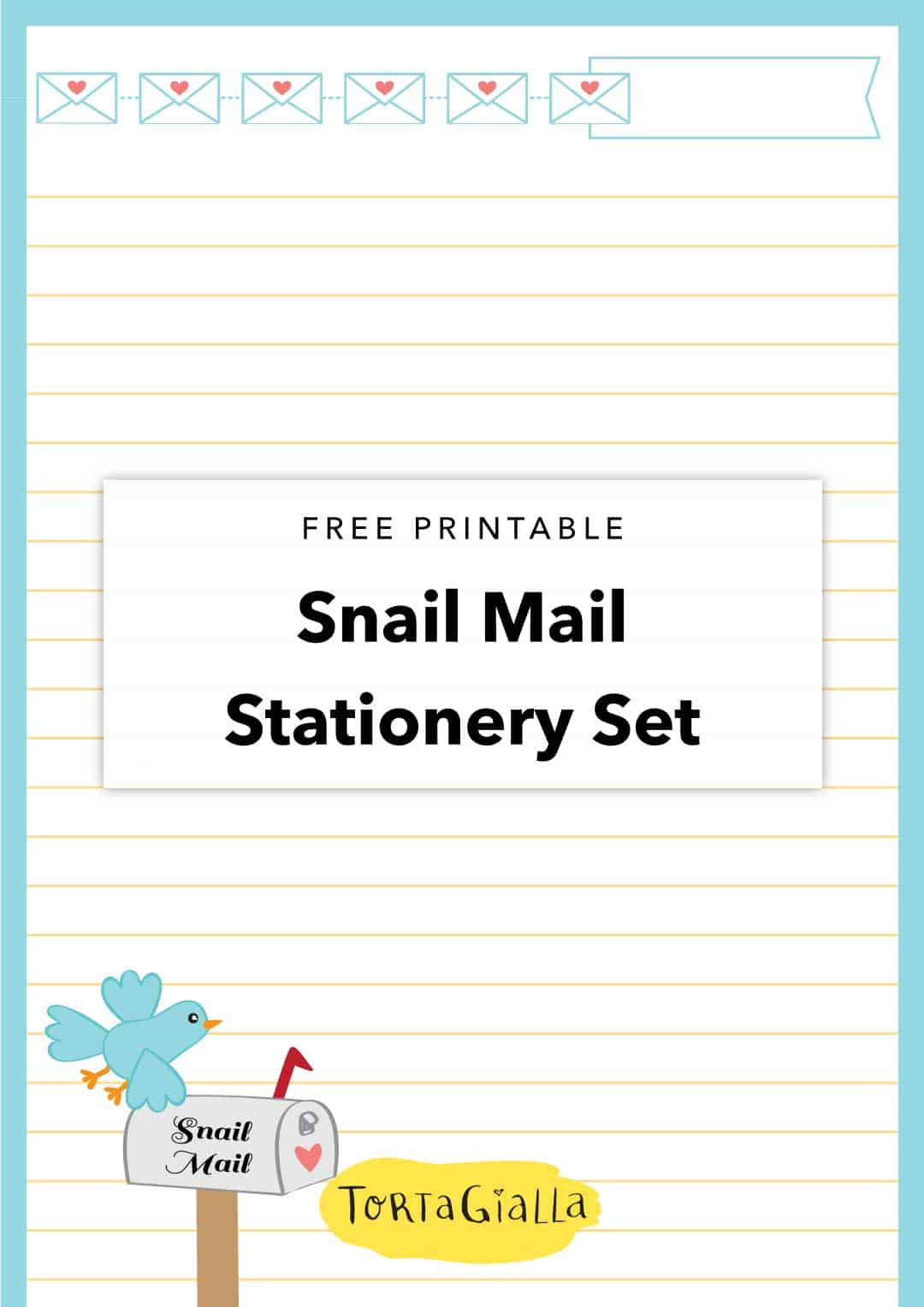 snail mail letter writing stationery set printable for lwa tortagialla