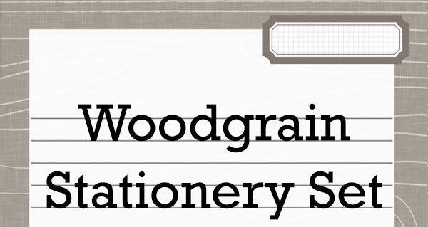 Printable Woodgrain Stationery Set
