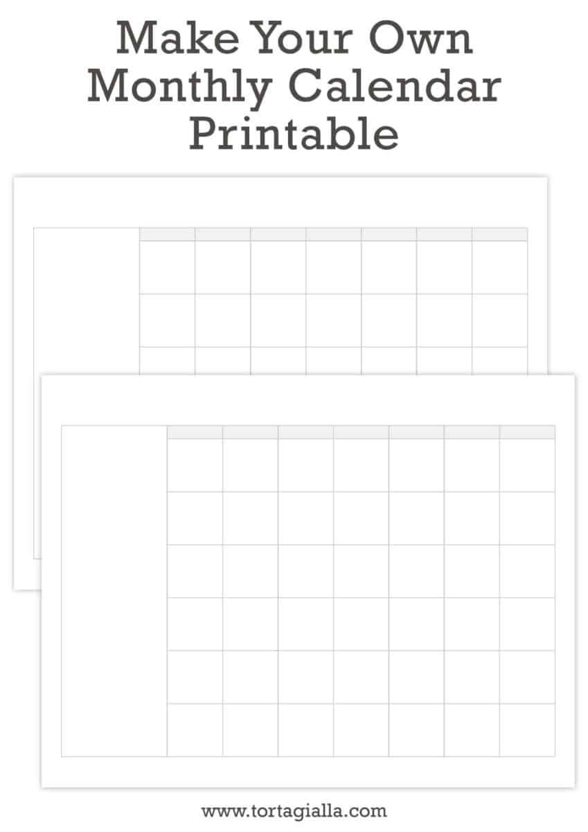 Make your own monthly calendar printable tortagialla for Create your own building
