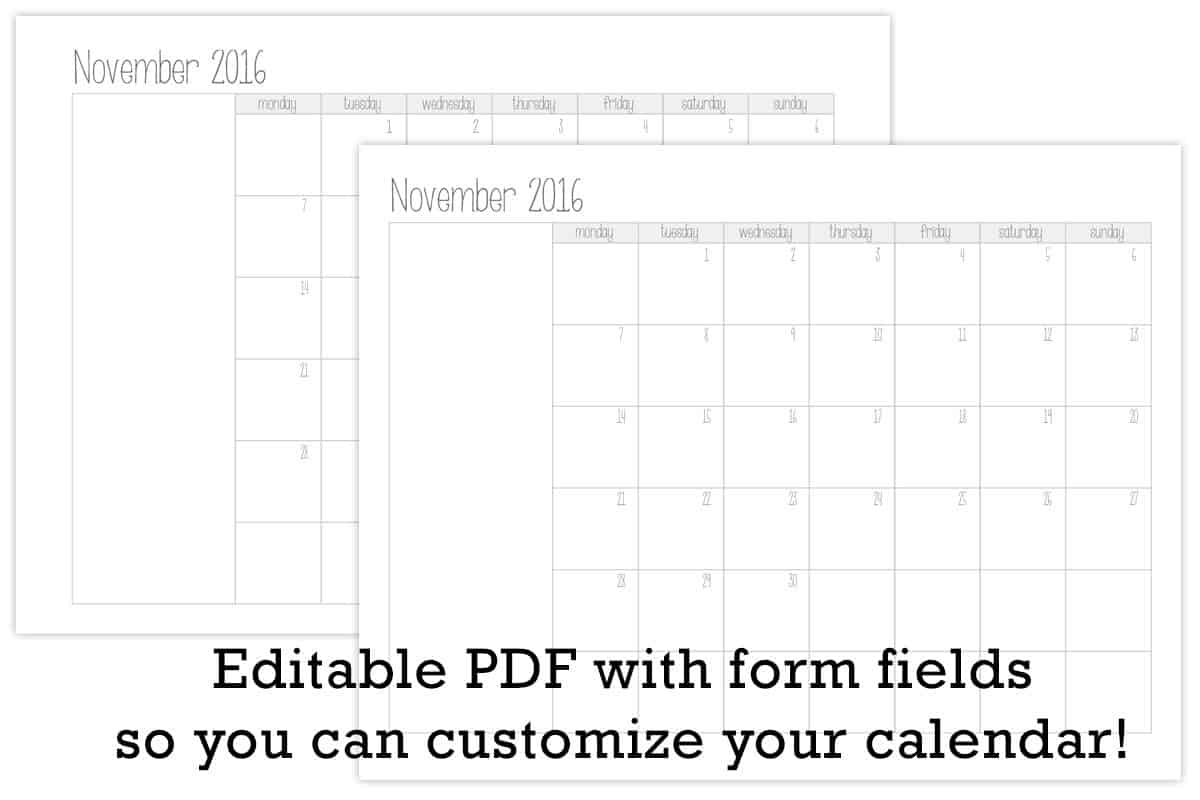 make your own monthly calendar printable