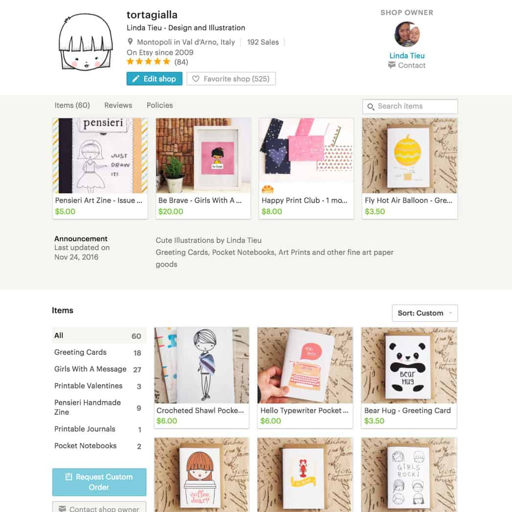 tortagialla etsy shop - cute illustrations on fine art paper goods