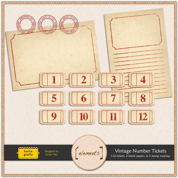Free Printable Vintage Number Tickets and Paper