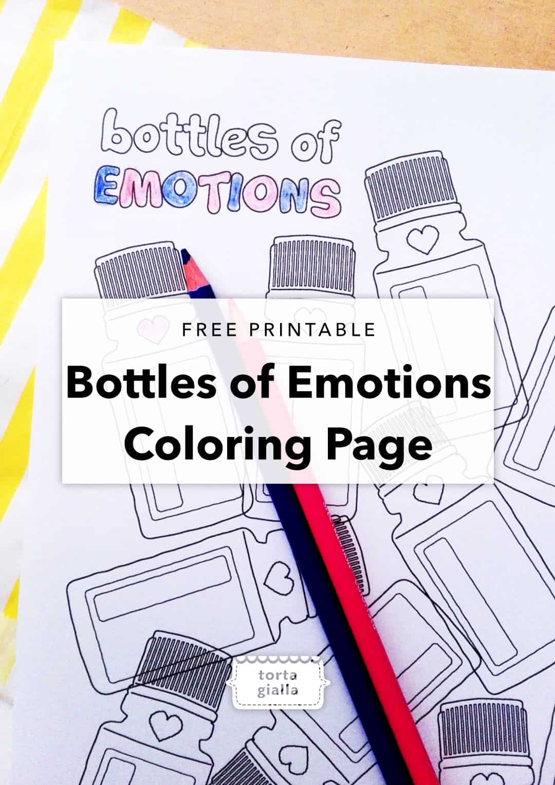 Bottles of Emotions Coloring Page Printable tortagialla