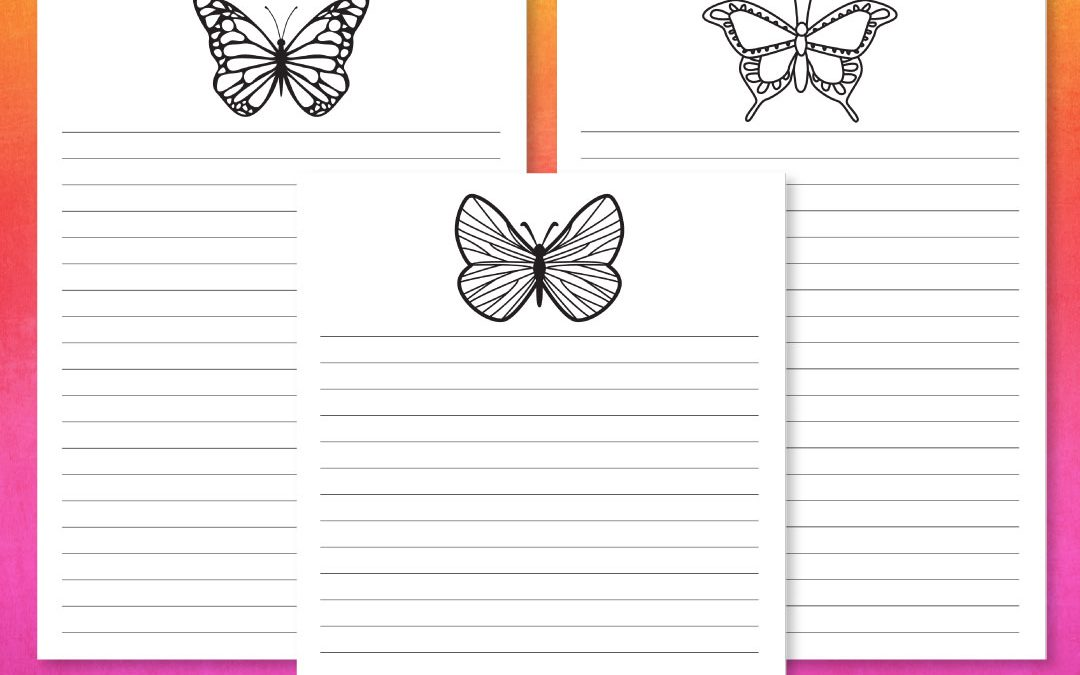 Free Printable – A5 Planner Pages – Butterflies to Color