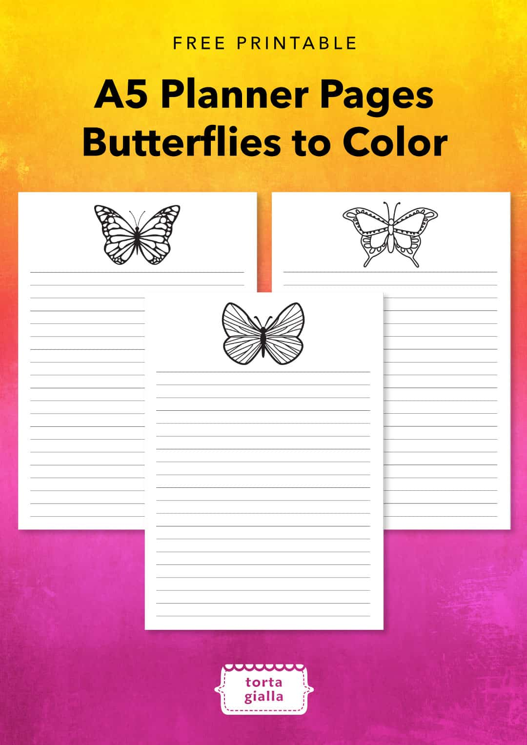 image regarding A5 Planner Printables identify Free of charge Printable - A5 Planner Internet pages - Butterflies in direction of Coloration