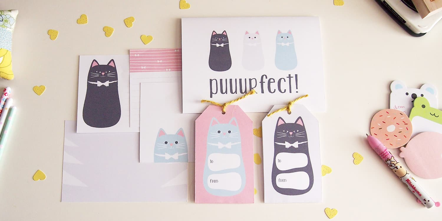 tortagialla printables - cat themed stationery guest post