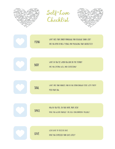 self love checklist printable