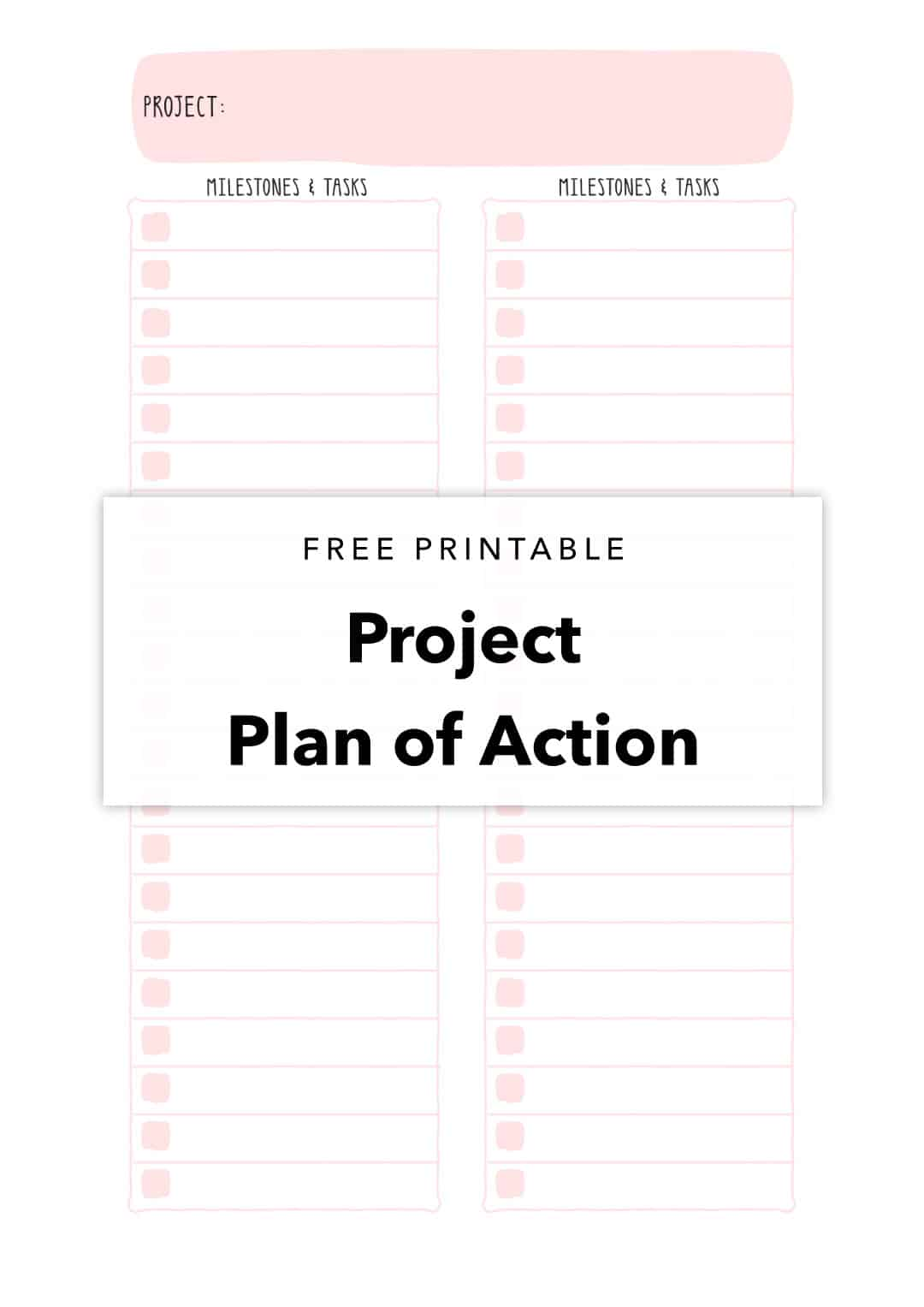 Free Printable Project Plan of Action