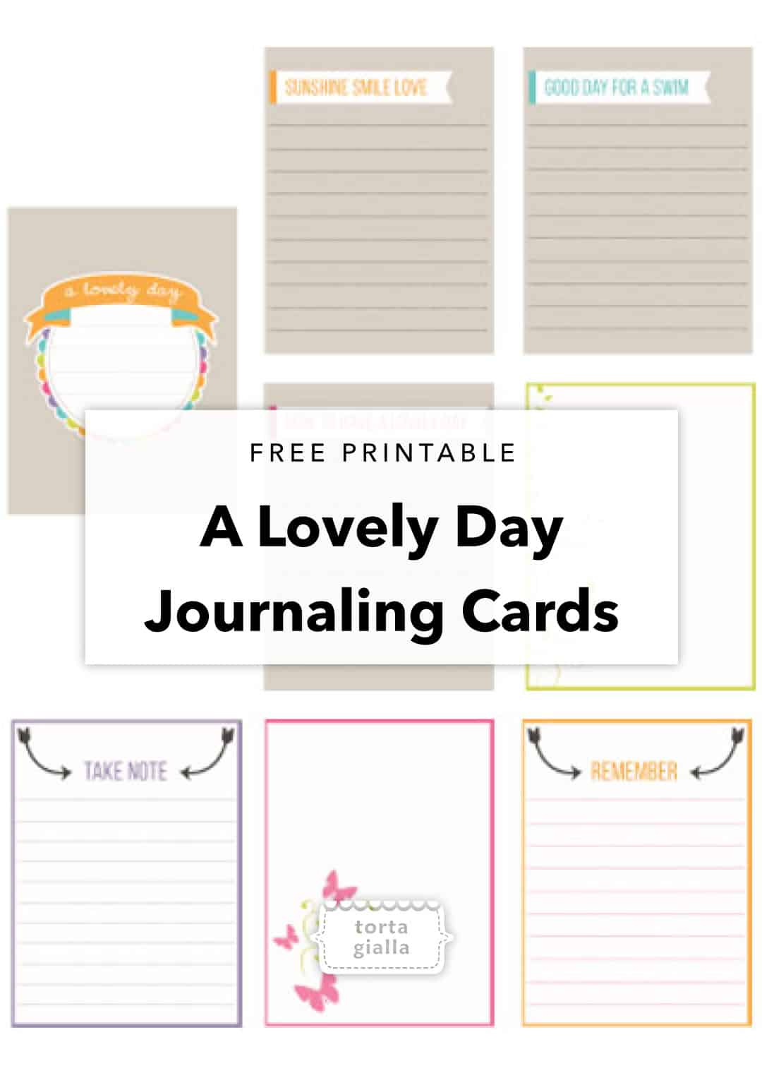 free printable a lovely day journaling cards