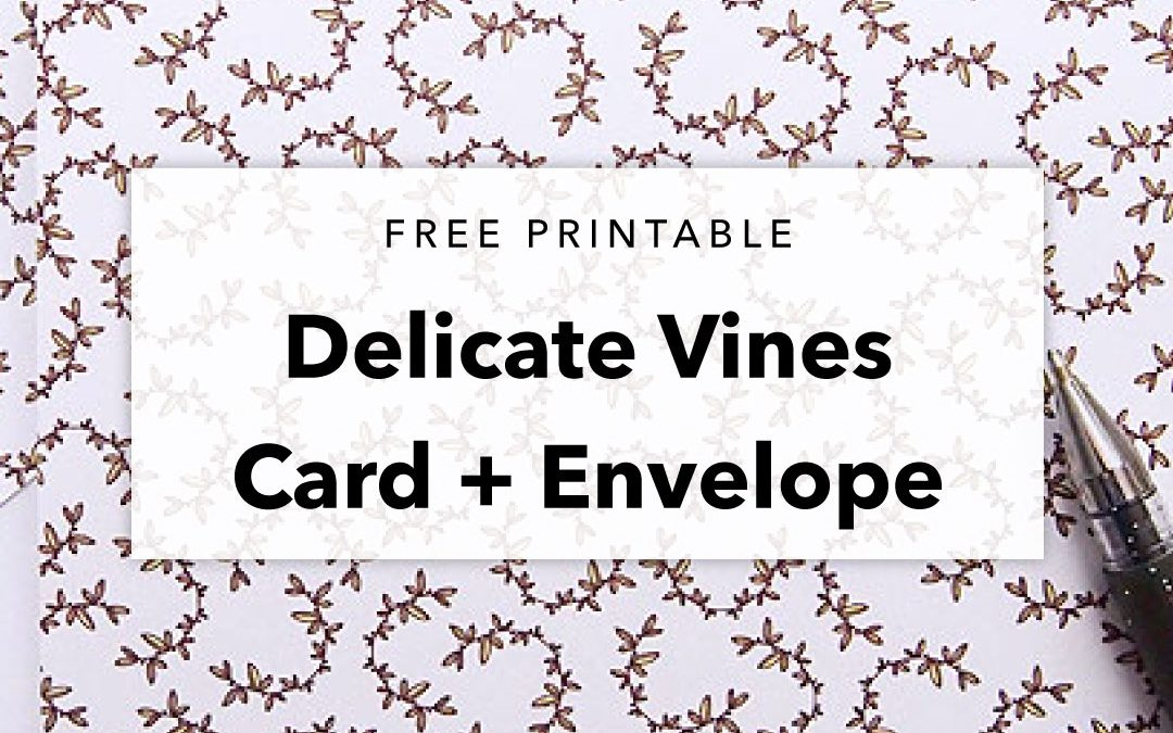 Free Printable Delicate Vines Patterned Card