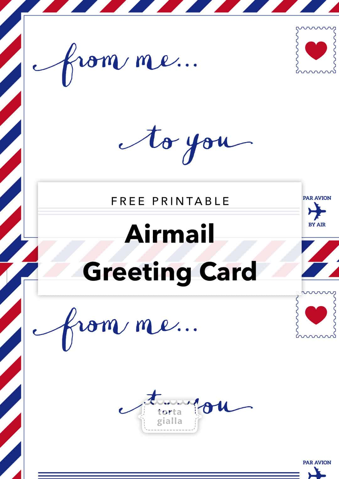 Free Printable Airmail Greeting Card