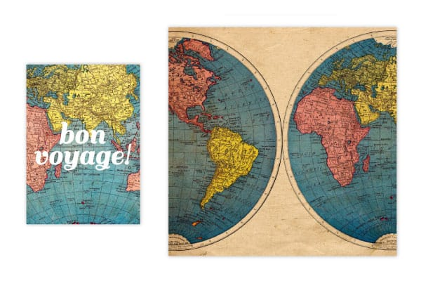 Free Printable Vintage Globe Card plus Coordinating Patterned Paper
