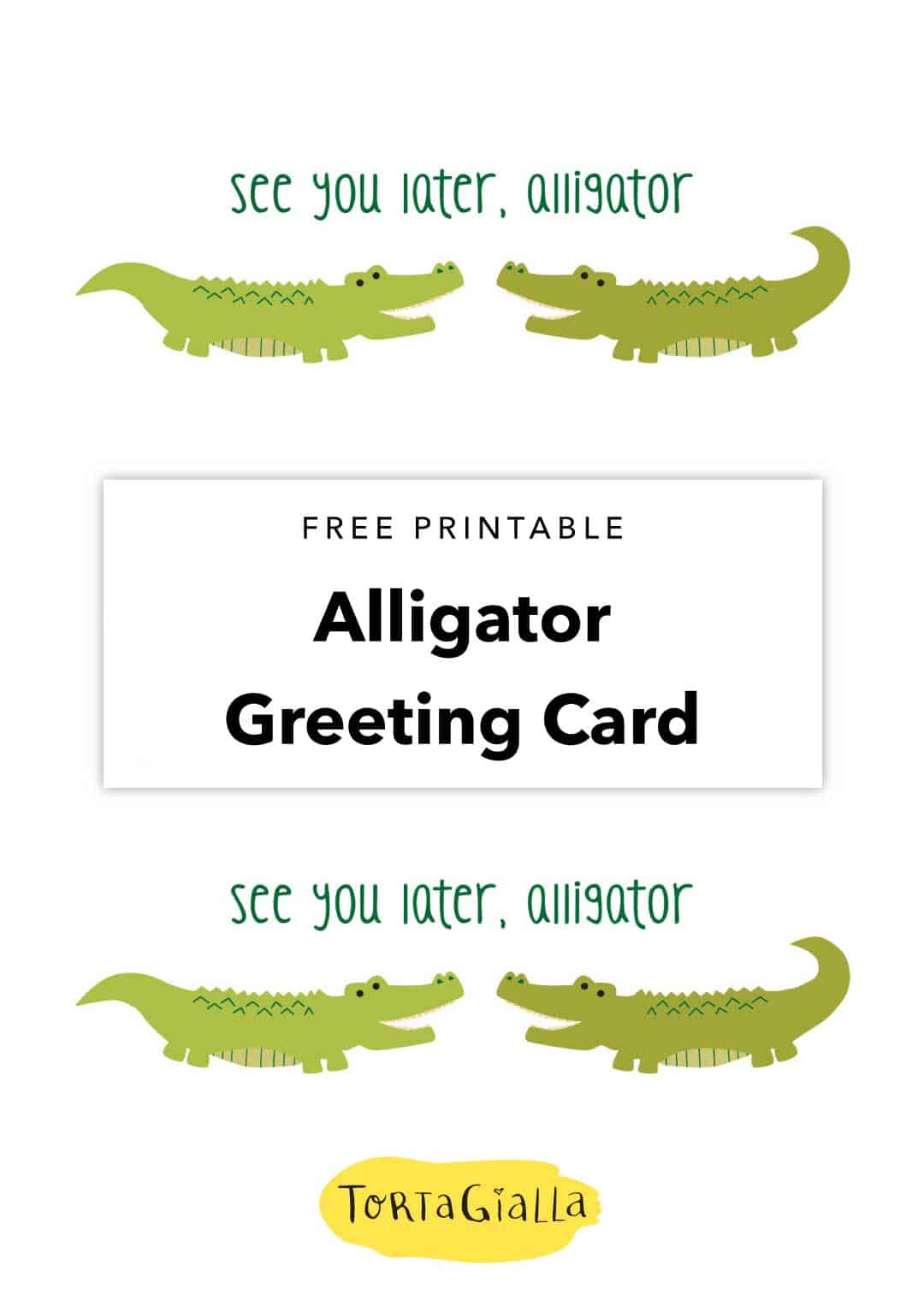 free printable alligator greeting card