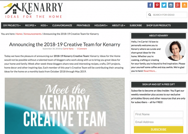 I'm on the 2018-19 Creative Team for Kenarry!