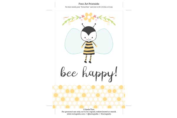 Free Printable Bee Happy Art Print