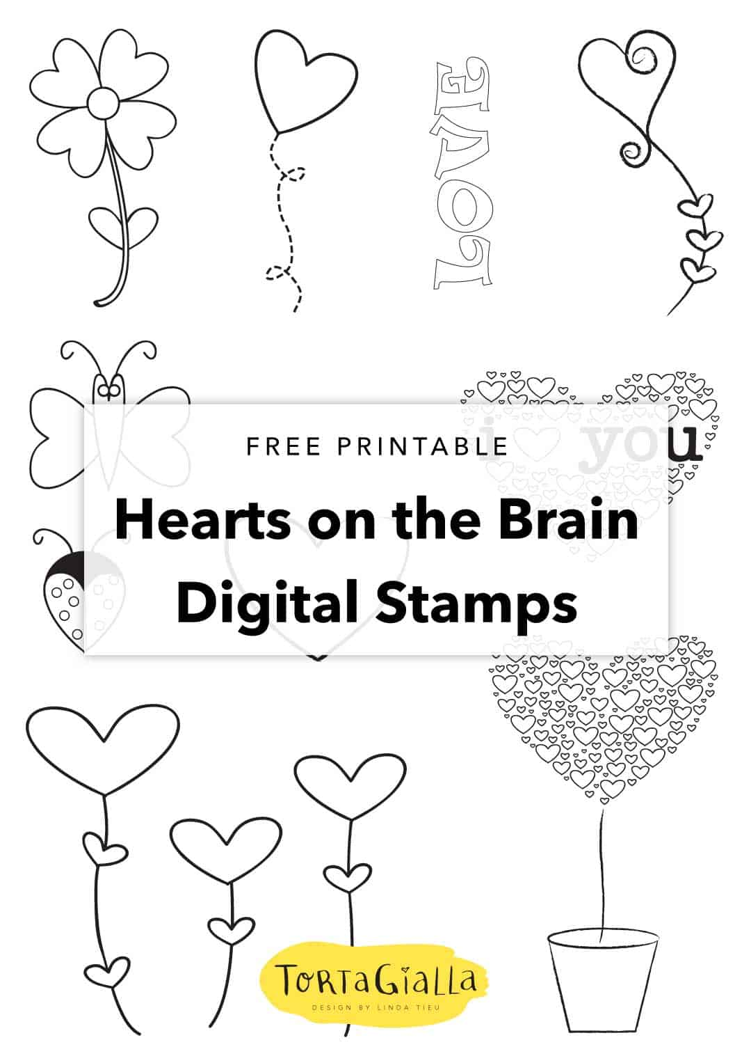 Free printable Love Clipart // Hearts on the Brain digital stamps