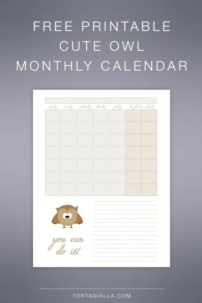 FREEBIE: Cute Owl Monthly Calendar Printable