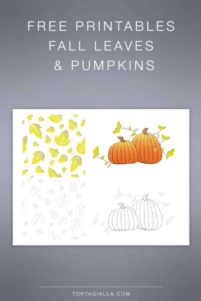 FREEBIE: Fall leaves repeat tile and pumpkins printable in full color and black and white lines.