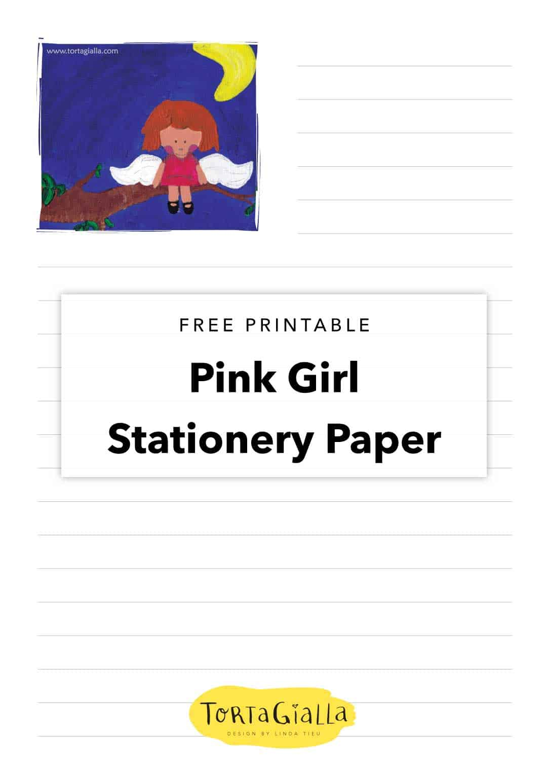 free printable pink girl stationery paper