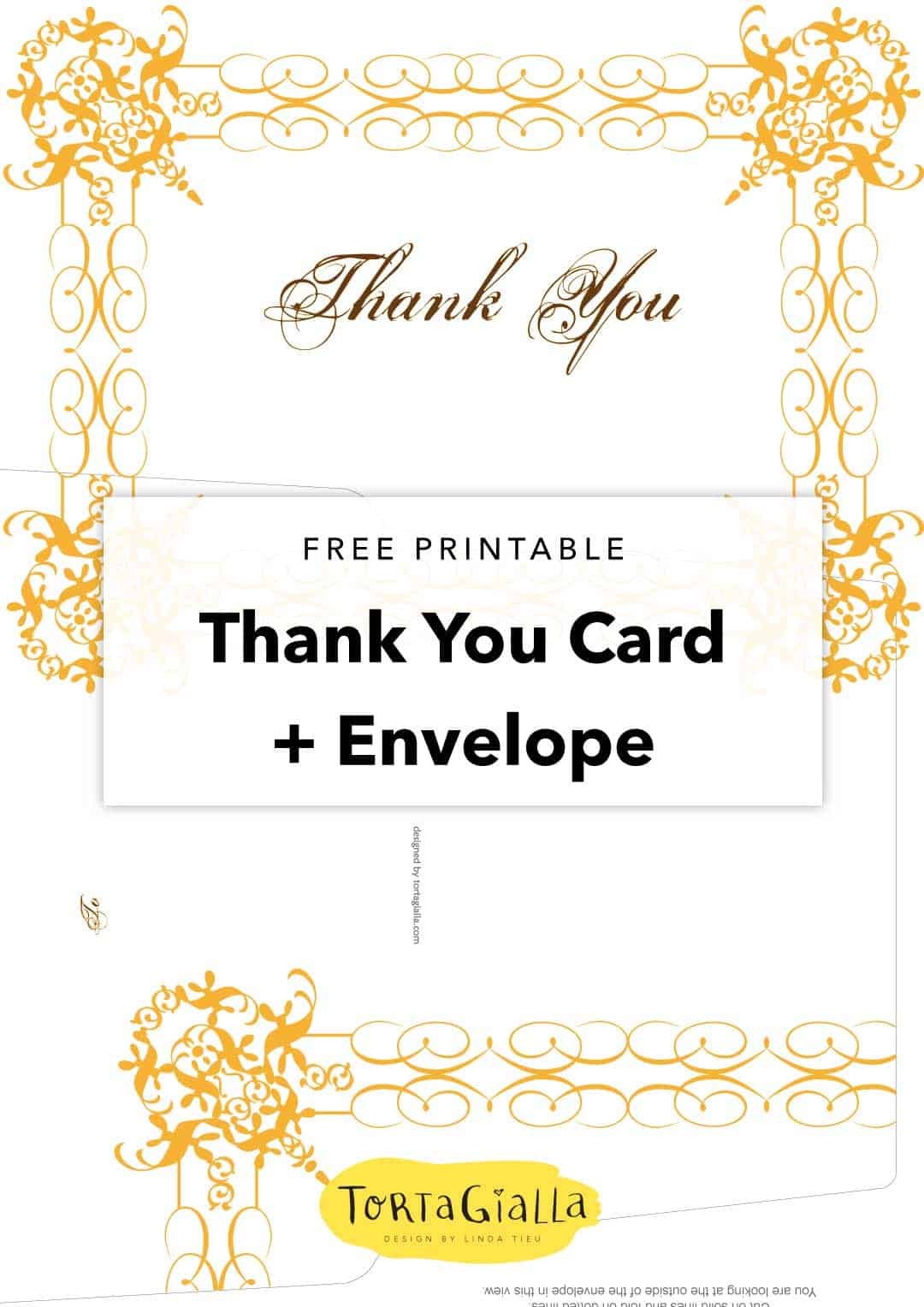 free printable thank you card and envelope