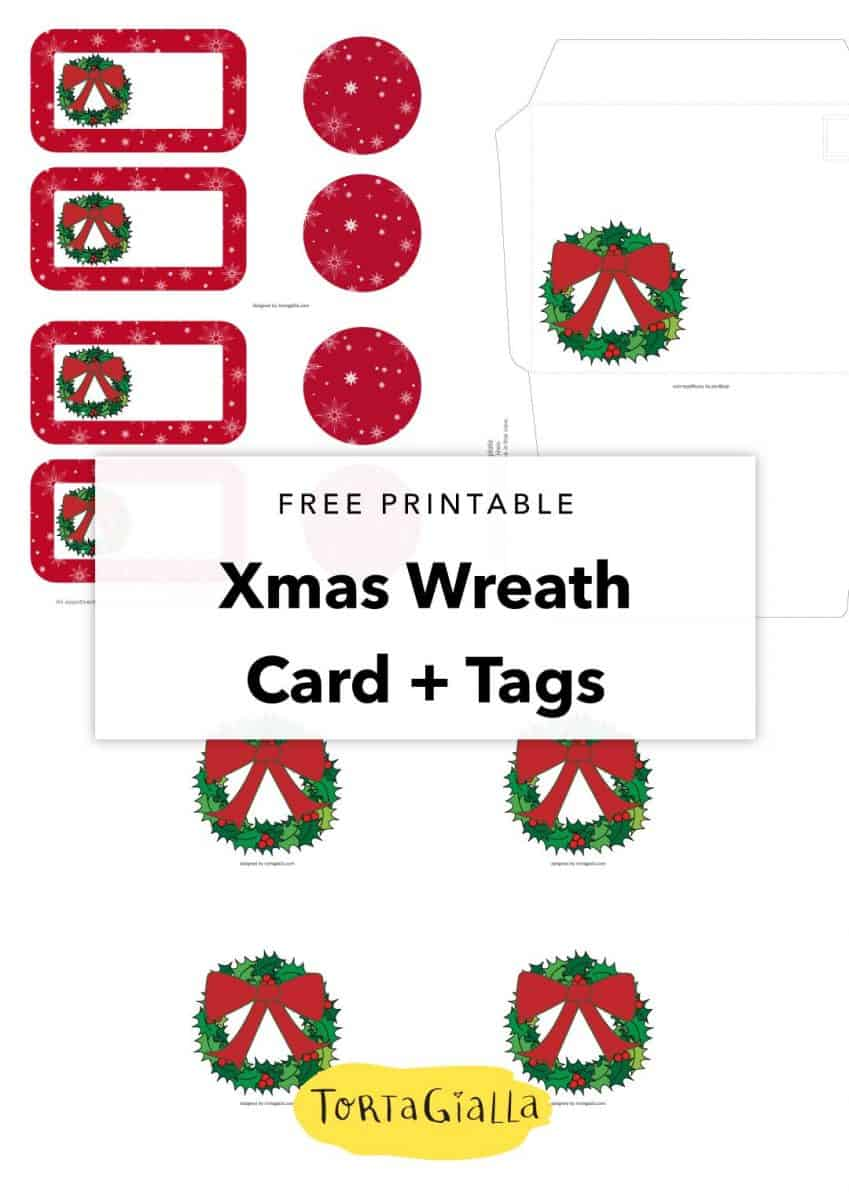 free printable xmas wreath card and tags