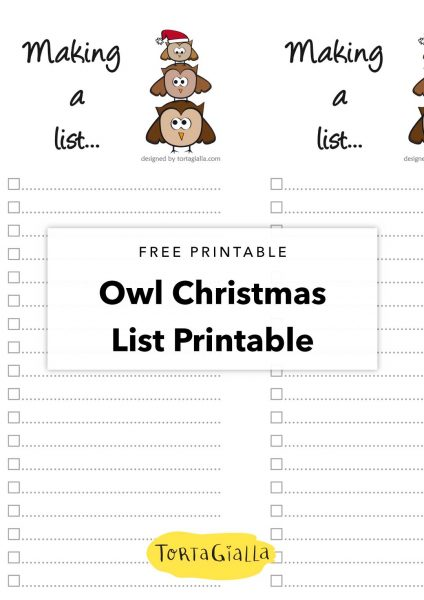 free printable owl christmas list printable