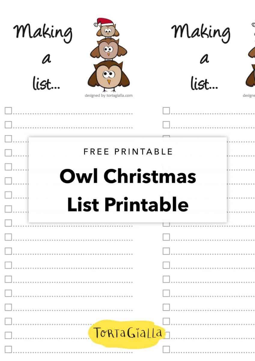 free printable owl christmas list printable
