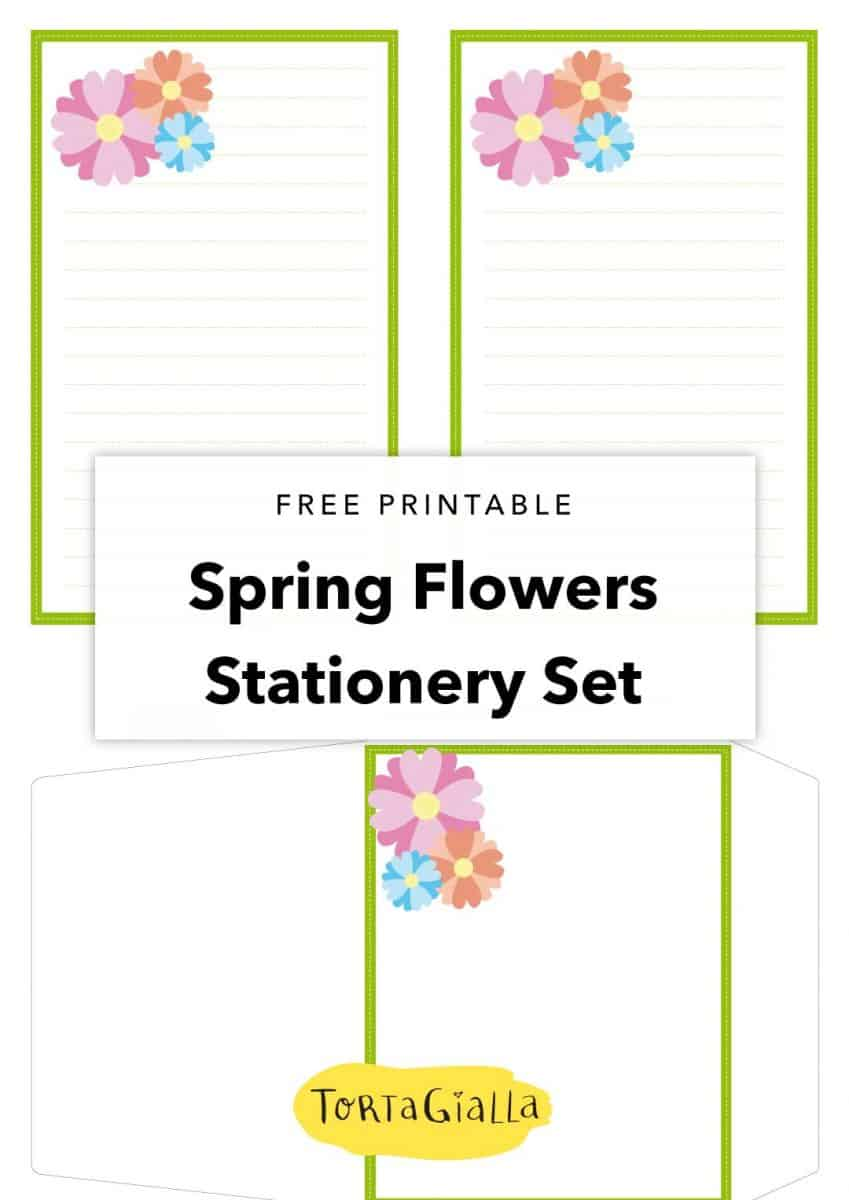 free printable spring flowers stationery set