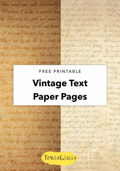free printable vintage text paper pages