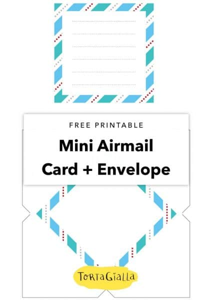 Free printable mini airmail card + envelope