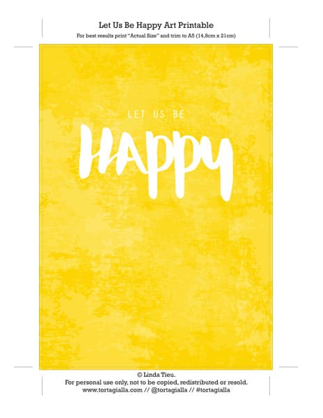 Free wall art printable: Let Us Be Happy