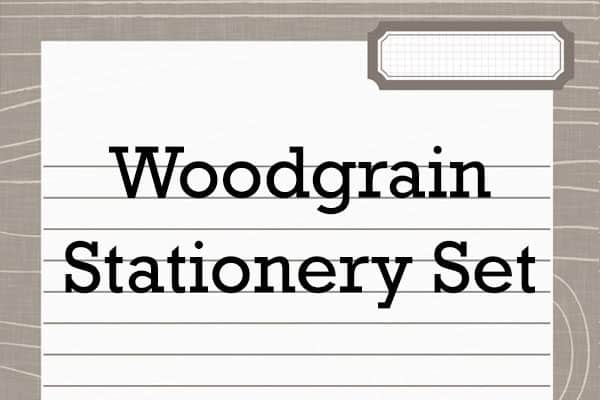 Woodgrain Stationery Set