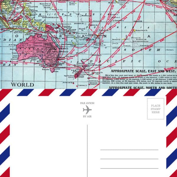 Vintage Map Airmail Postcard - Printable on tortagialla.com