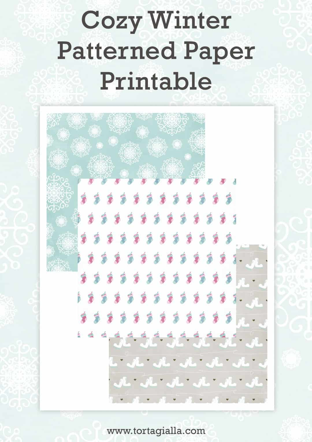 Cozy Winter Patterned Paper Printable on tortagialla.com