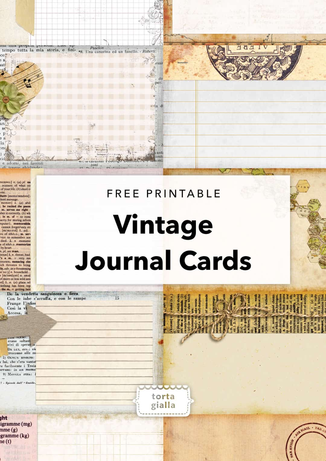 image about Free Vintage Printable named Totally free Printable - Typical Magazine Playing cards tortagialla