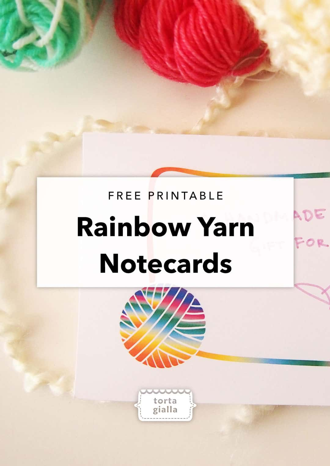 Rainbow Yarn Notecards - Free Printable