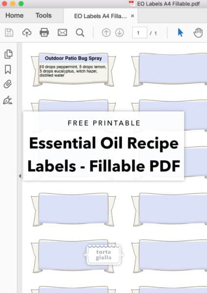 Essential Oils Recipe Labels - Fillable PDF