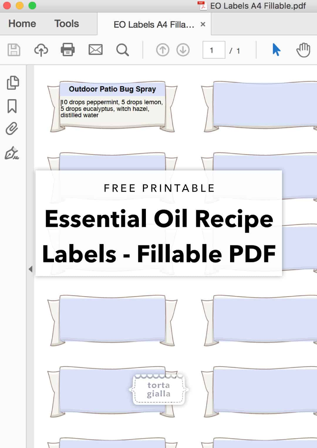 image regarding Printable Essential Oil Labels identified as Absolutely free Printable - Important Oil Bottle Labels tortagialla
