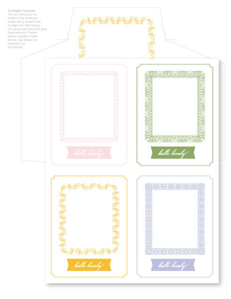 free hello lovely printable notecards and envelopes