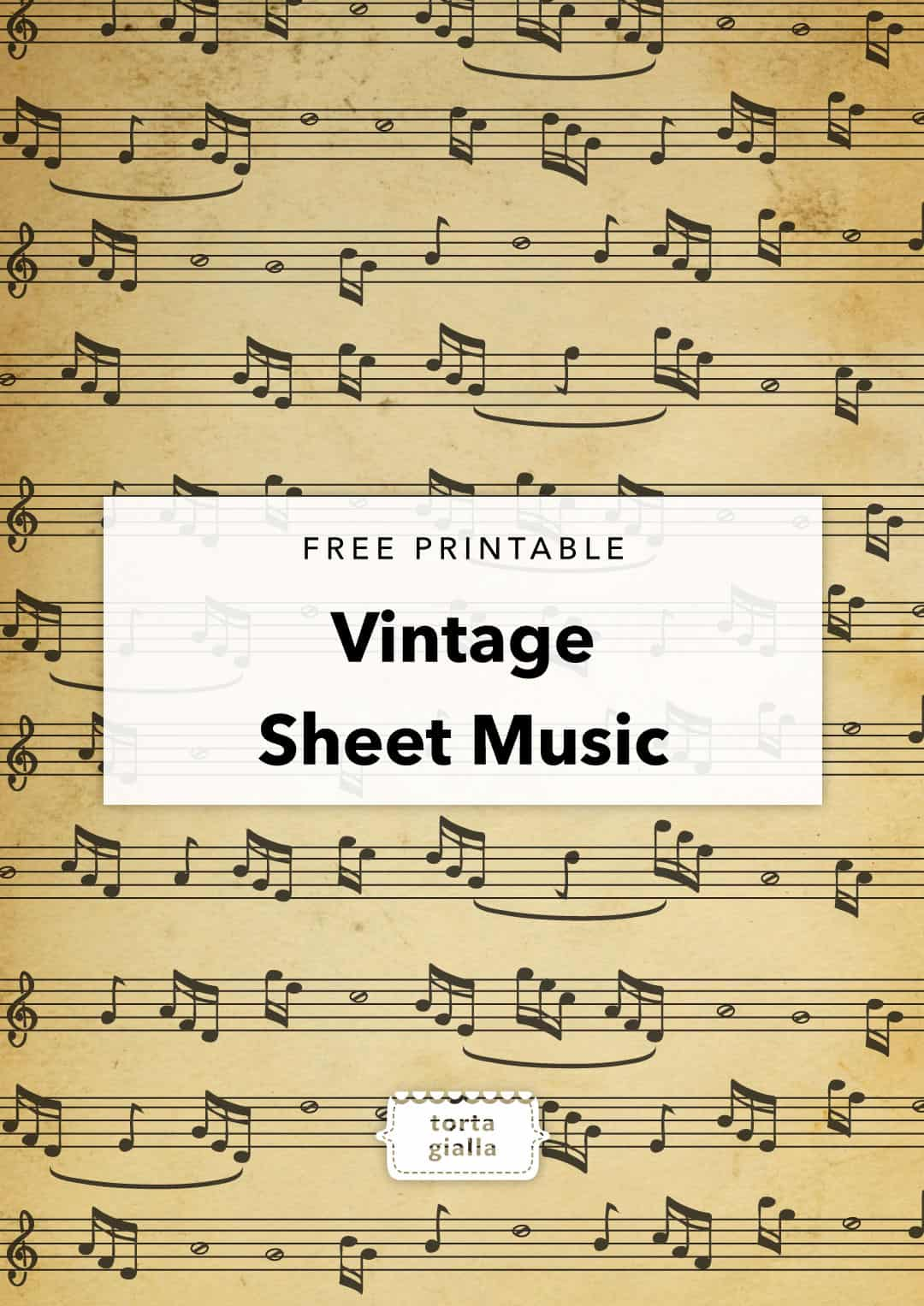 graphic about Free Vintage Printable referred to as Totally free Printable Typical Sheet New music tortagialla