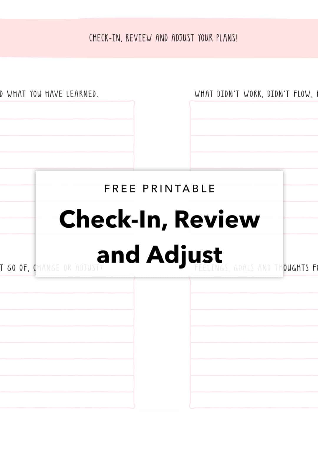 free printable check-in review and adjust your plans