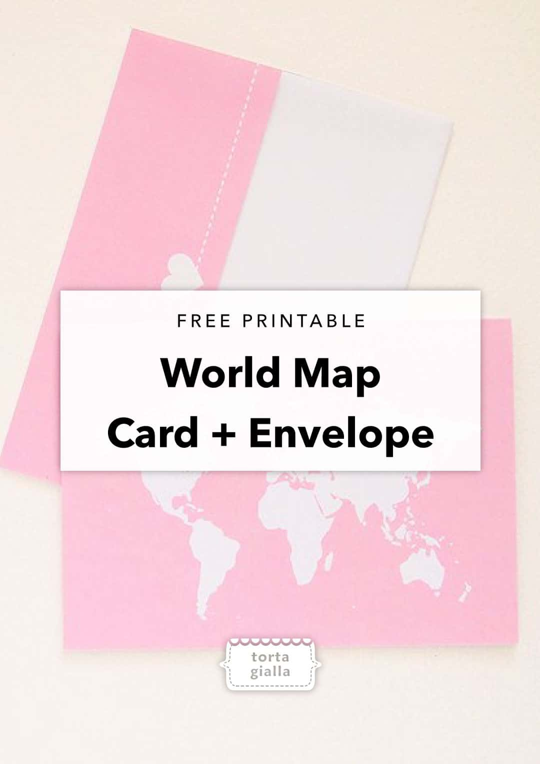 free printable world map card and envelope