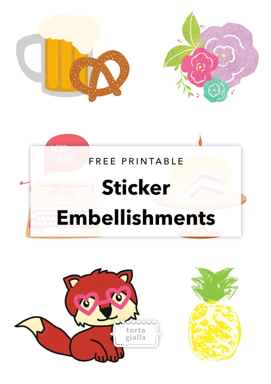 graphic relating to Free Printable Decor called Free of charge Printable Adorable Sticker Models Planner Decor
