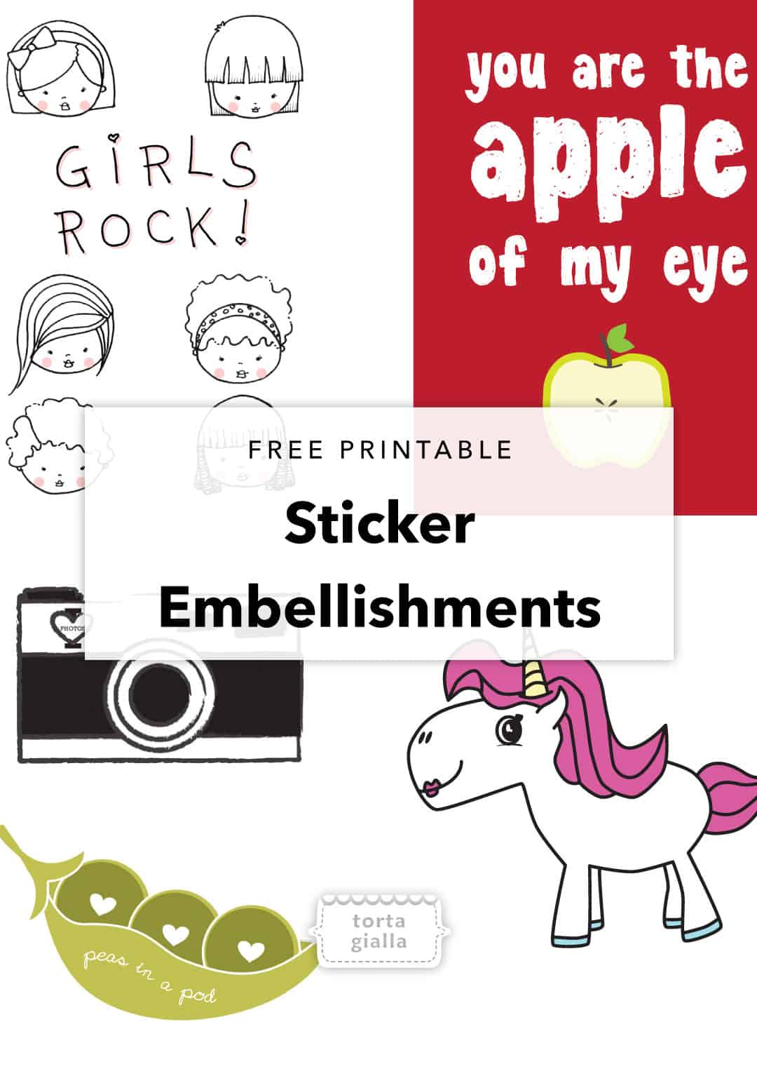 Free printable sticker embellishements on tortagialla.com