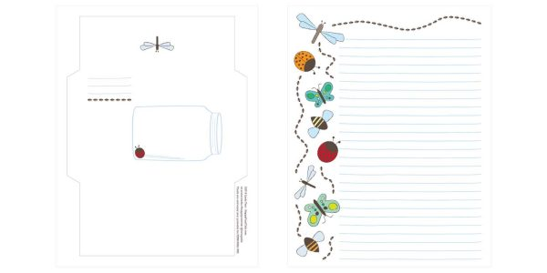 printable bug stationery envelope