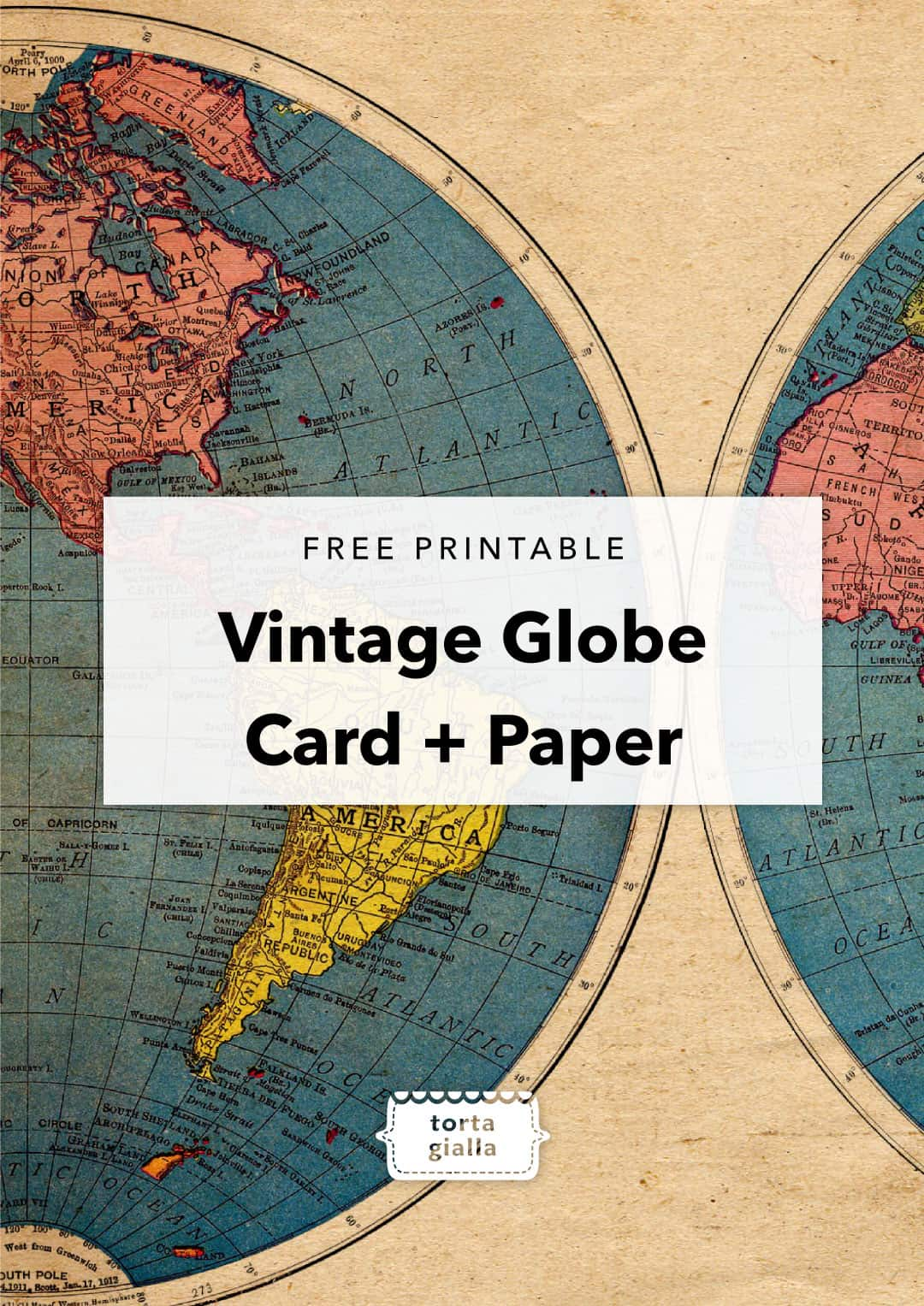 free printable vintage globe card and paper