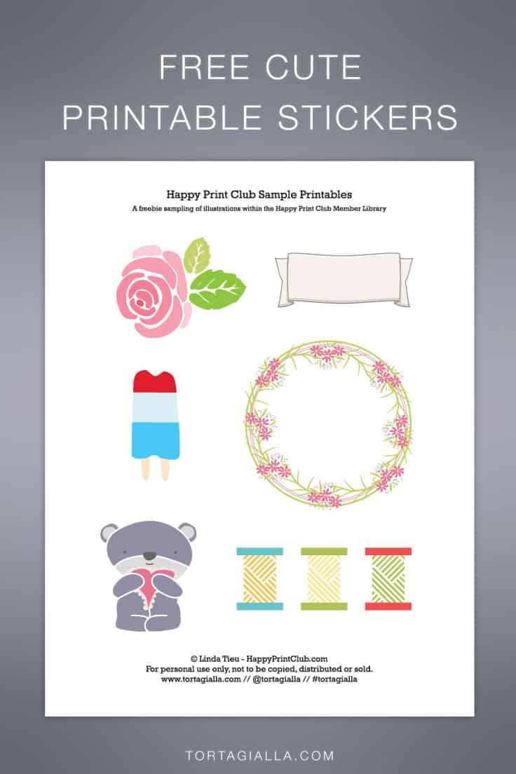 Download for free these cute printable stickers on tortagialla.com