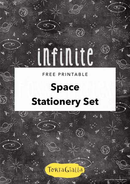 free printable space stationery set